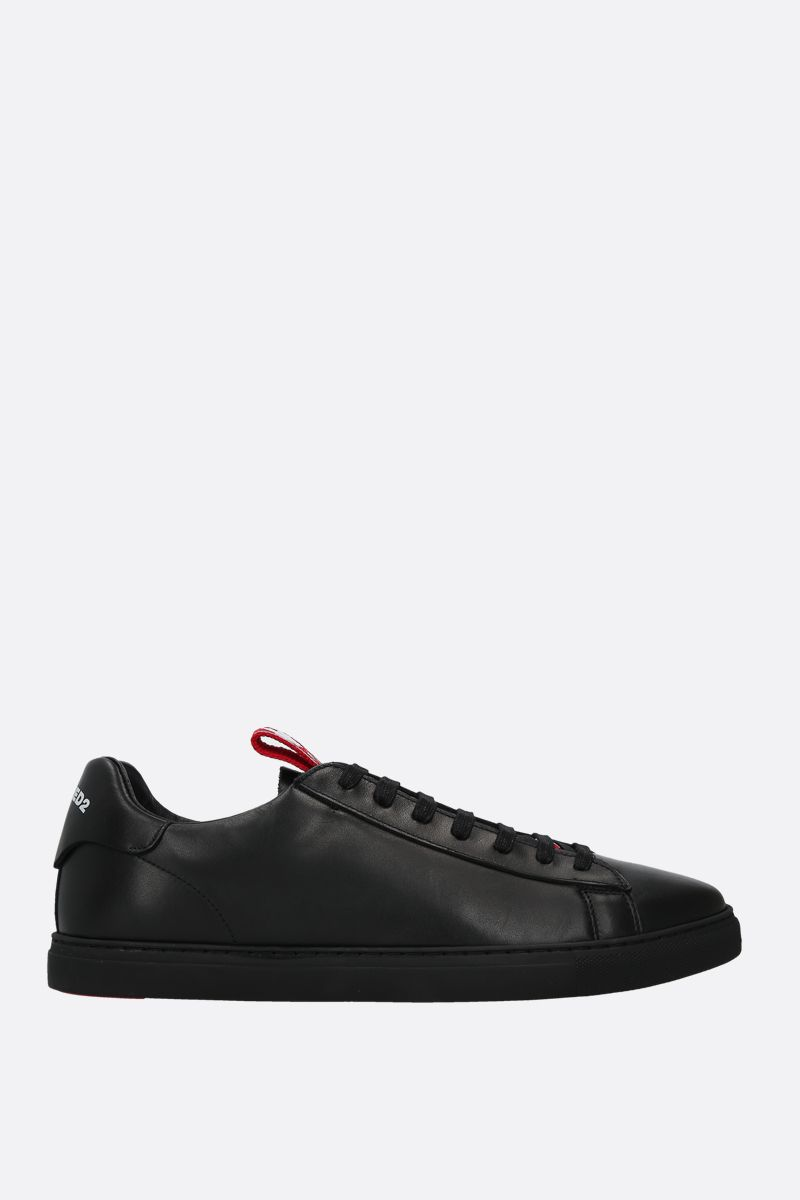 DSQUARED2: Evolution Tape smooth leather sneakers Color Black_1