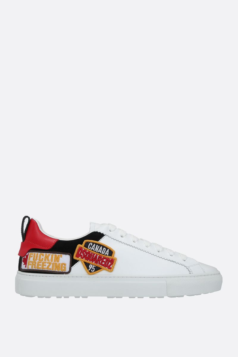 DSQUARED2: San Diego smooth leather and suede sneakers Color White_1