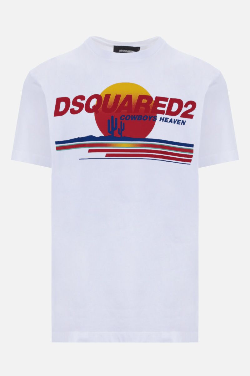 DSQUARED2: t-shirt in cotone stampa Cowboys Heaven Colore Bianco_1