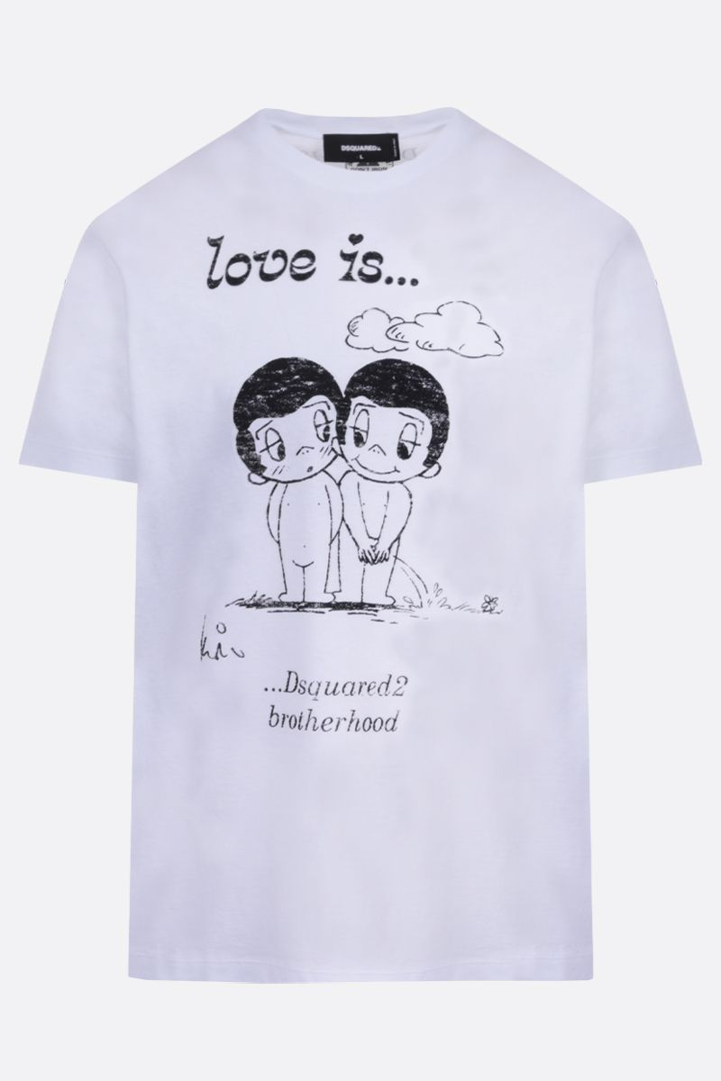 DSQUARED2: Love Is print cotton t-shirt Color White_1