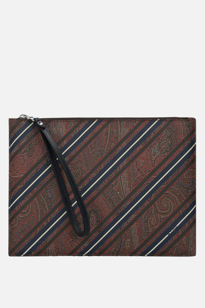 ETRO: porta tablet in canvas Paisley a righe_1