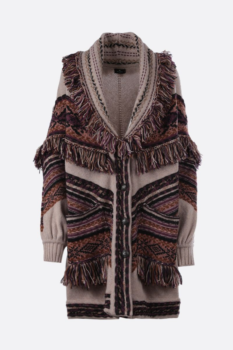 ETRO: fringe-detailed wool blend jacquard oversize cardigan Color Multicolor_1