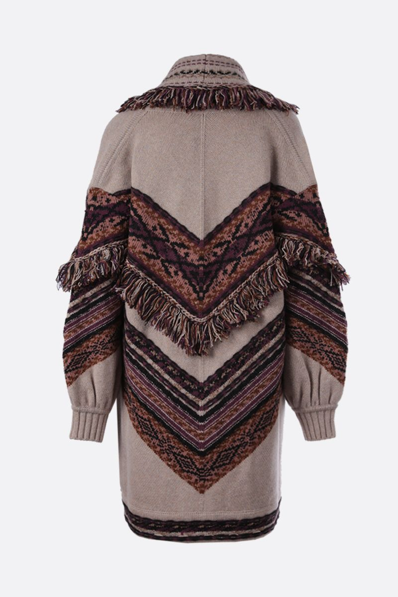 ETRO: fringe-detailed wool blend jacquard oversize cardigan Color Multicolor_2
