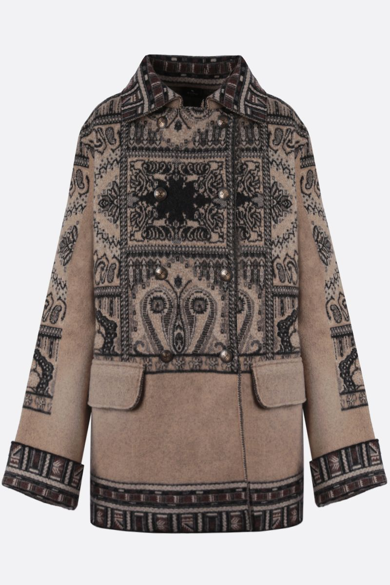 ETRO: Paisley-motif wool double-breasted coat Color Multicolor_1