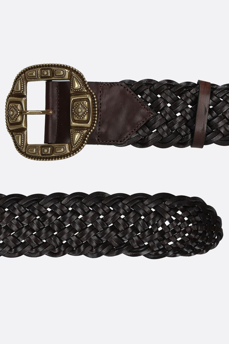 ETRO: woven leather waist belt Color Brown_2