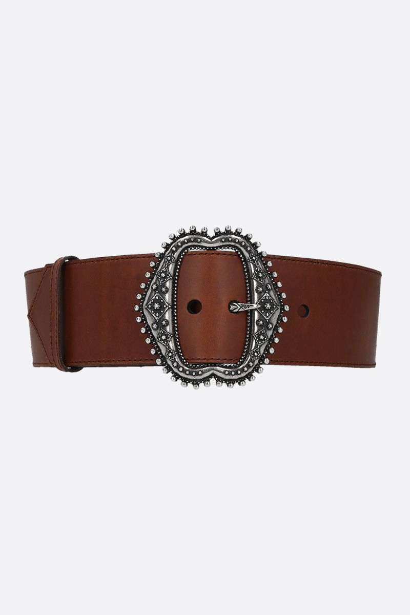 ETRO: smooth leather waist belt Color Brown_1