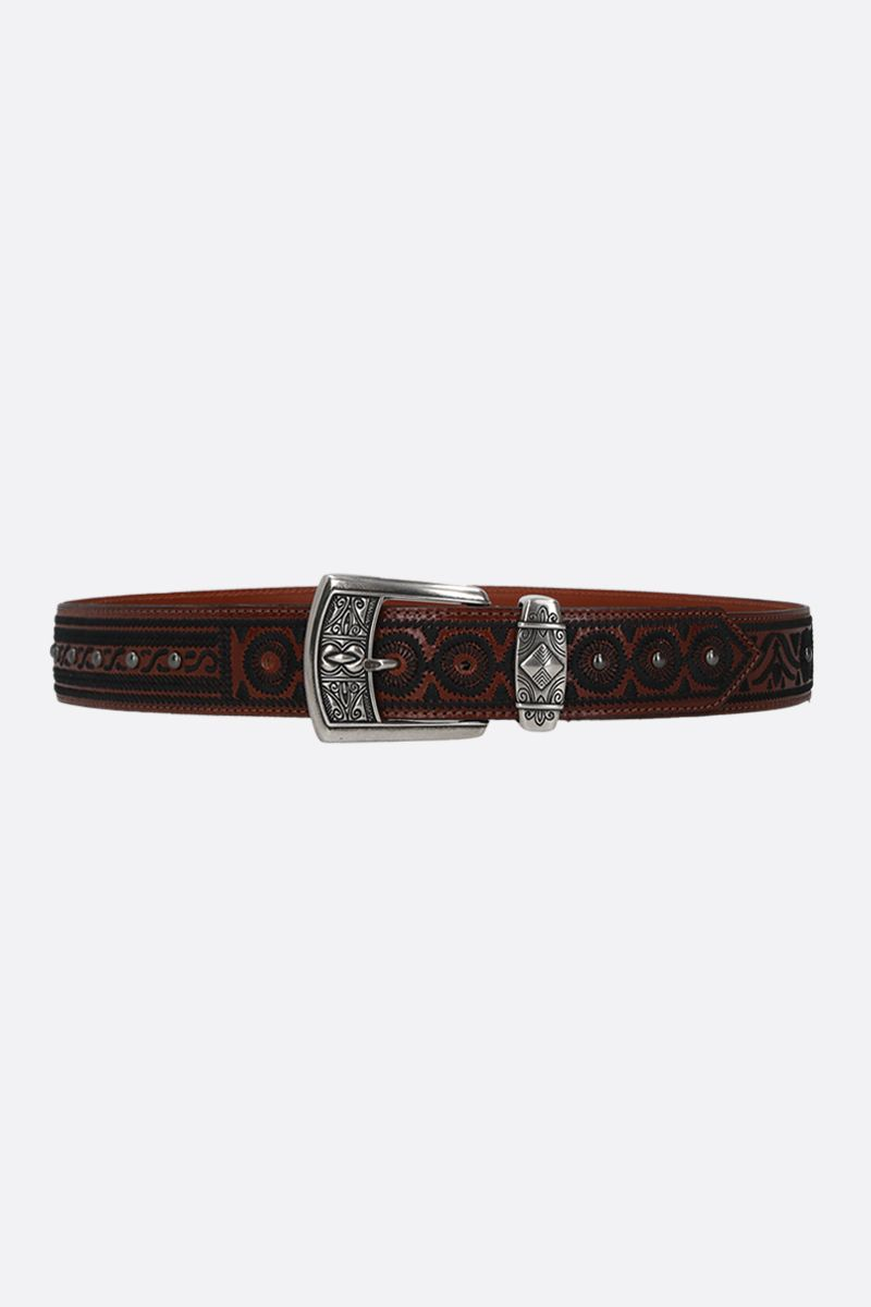 ETRO: embroidered leather belt Color Black_1