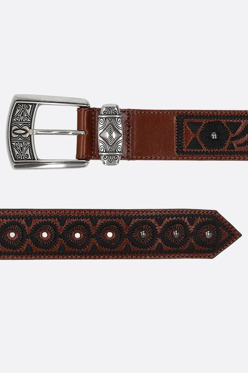 ETRO: embroidered leather belt Color Black_2