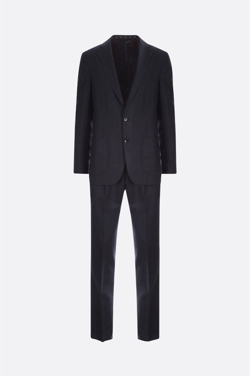 ETRO: striped wool two-piece suit Color Blue_1