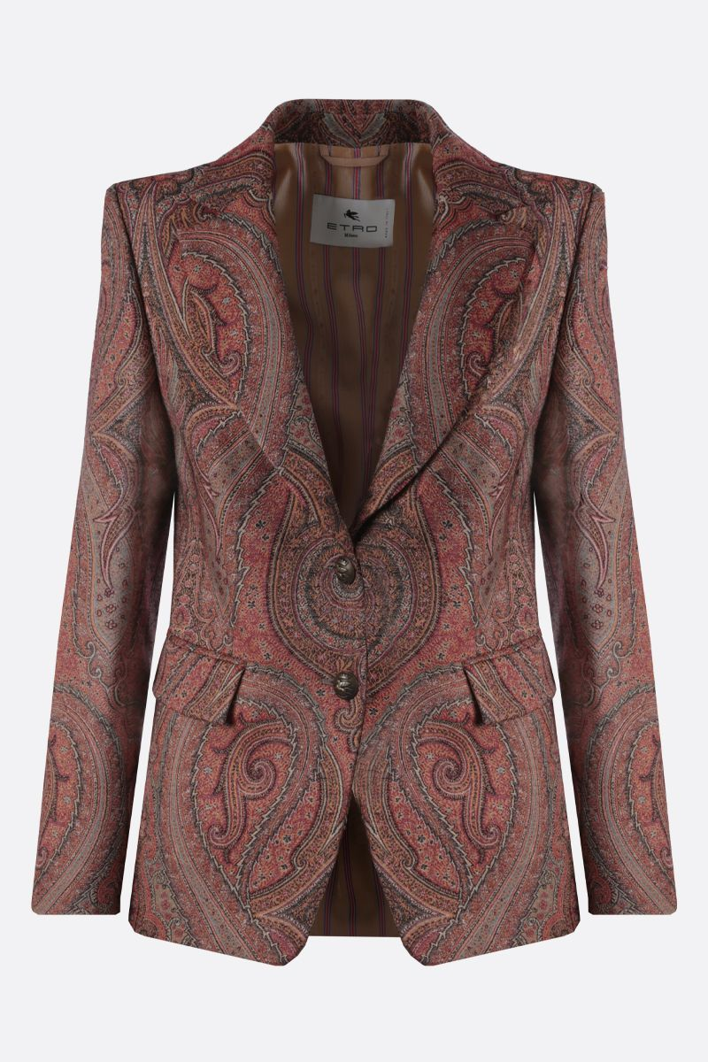 ETRO: Paisley-motif wool silk blend single-breasted jacket Color Multicolor_1