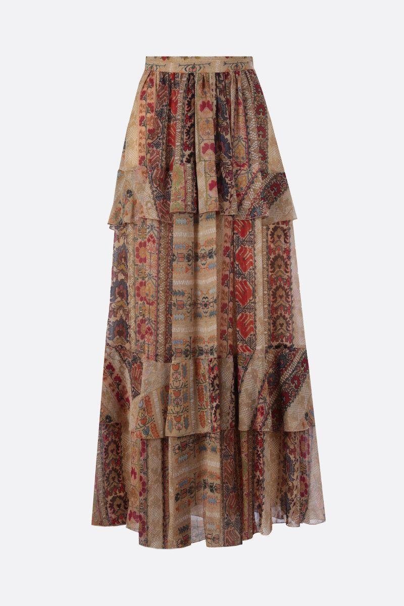ETRO: floral print silk flounced skirt Color Multicolor_1