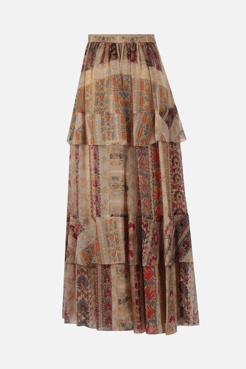 ETRO: floral print silk flounced skirt Color Multicolor_2