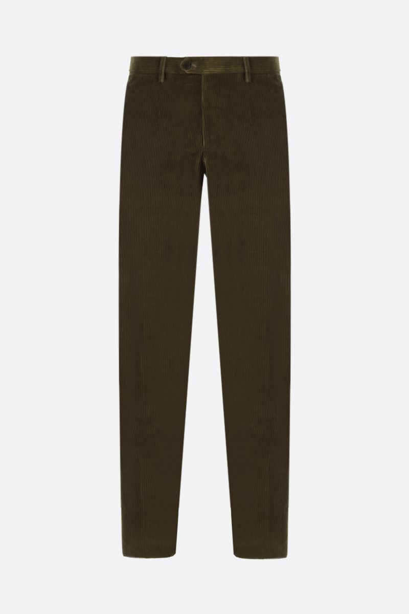 ETRO: pantalone slim-fit in velluto a costine Colore Verde_1