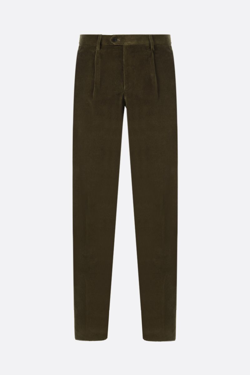 ETRO: ribbed velvet slim-fit darted pants Color Brown_1