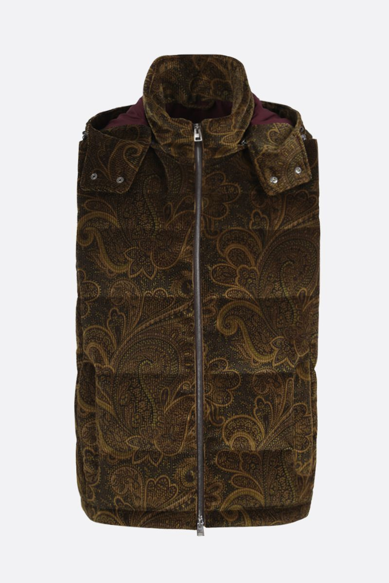 ETRO: Pailey print ribbed velvet sleeveless down jacket Color Multicolor_1