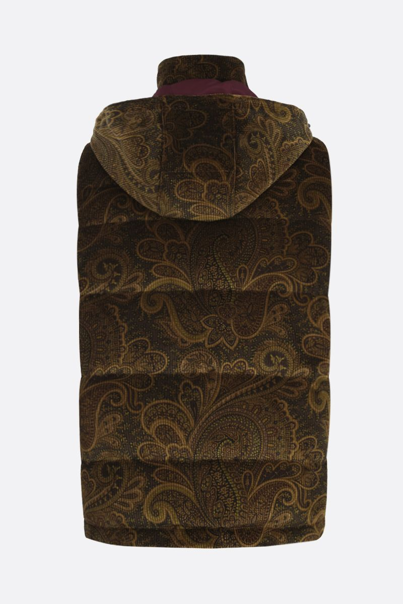 ETRO: Pailey print ribbed velvet sleeveless down jacket Color Multicolor_2