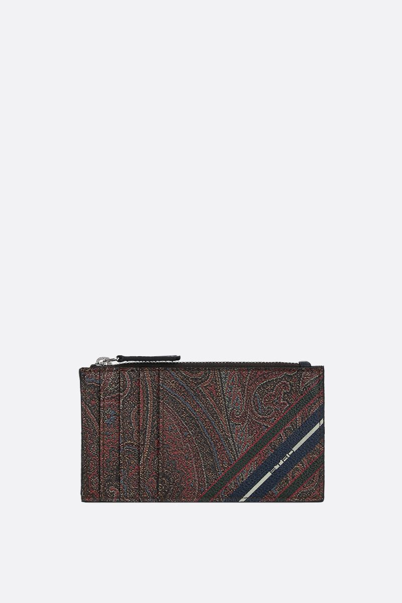 ETRO: porta carte con zip in canvas Paisley a righe_1