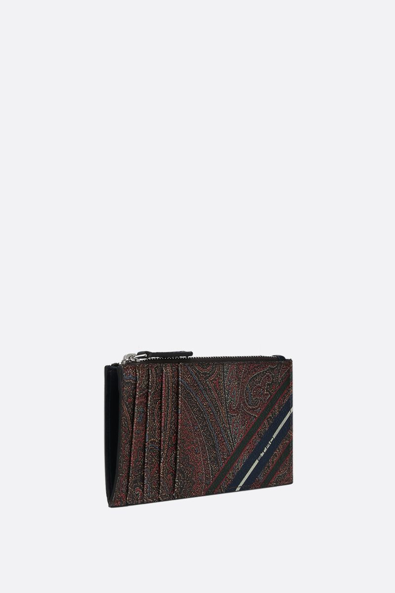 ETRO: striped Paisley canvas zipped card case_2