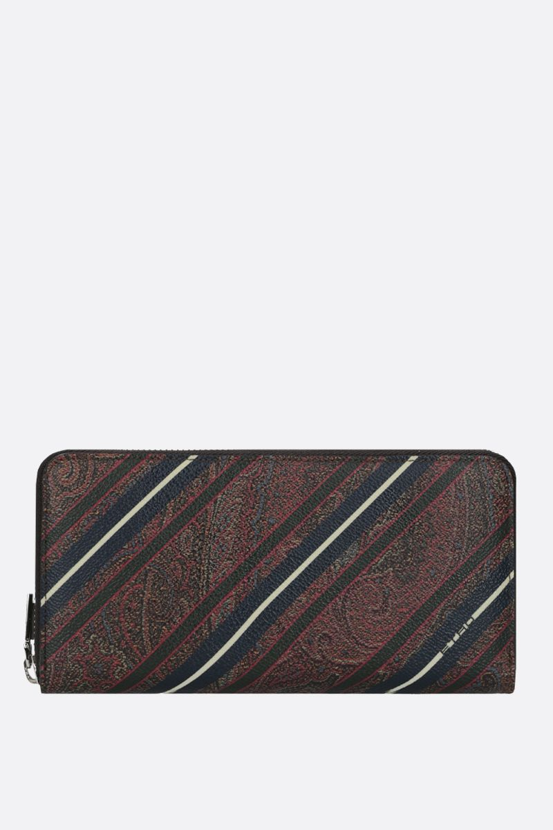 ETRO: striped Paisley canvas zip-around wallet_1