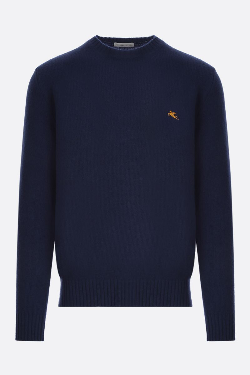 ETRO: Pegaso embroidered wool pullover Color Blue_1