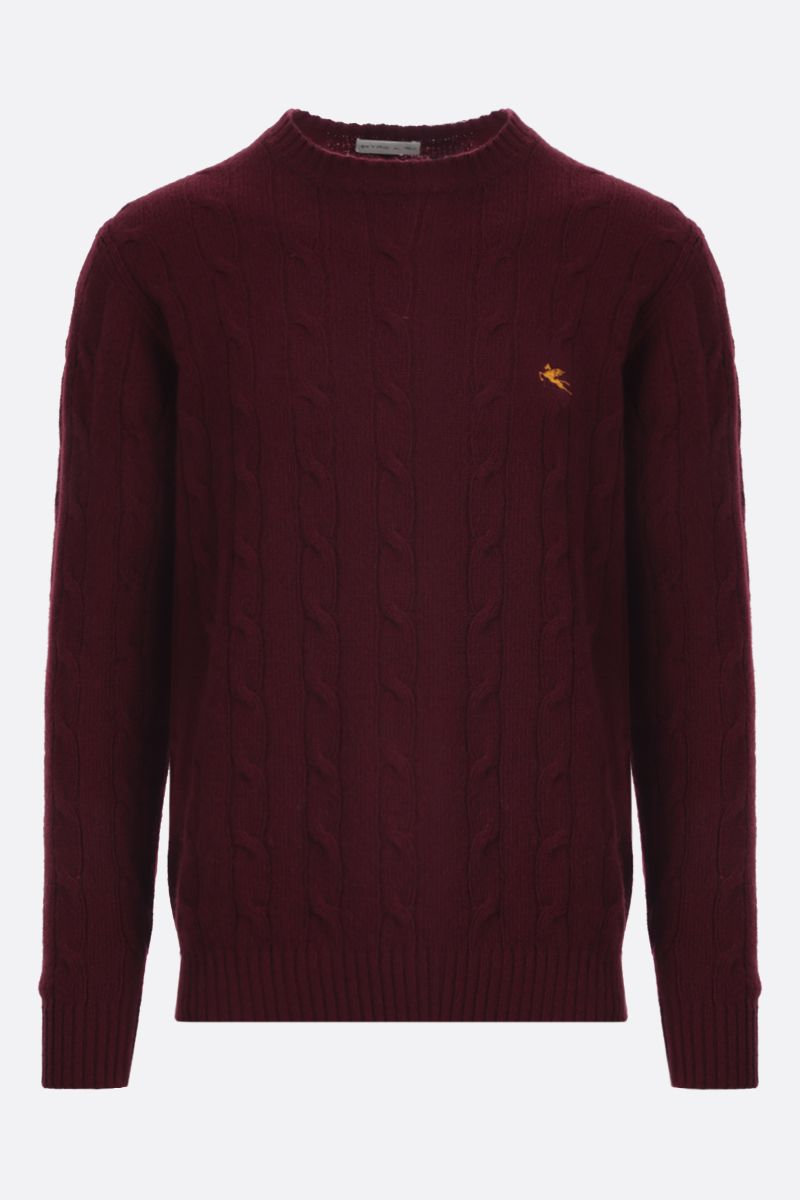ETRO: Pegaso embroidered cable-knit wool pullover Color Red_1