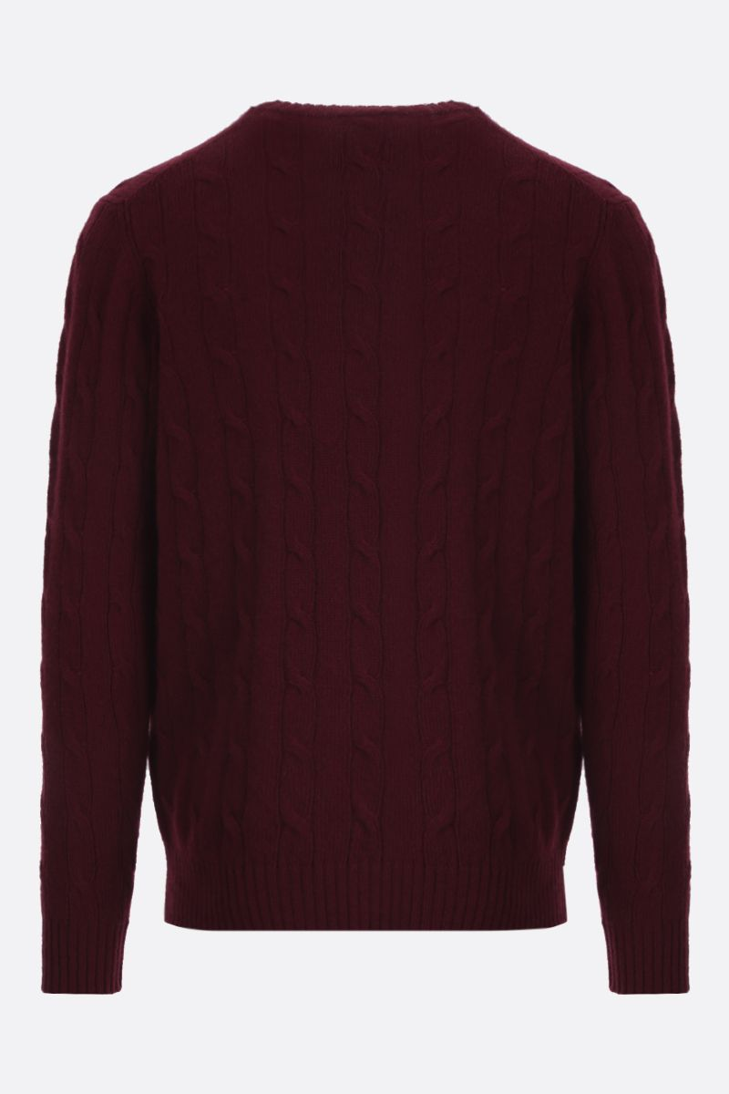 ETRO: Pegaso embroidered cable-knit wool pullover Color Red_2