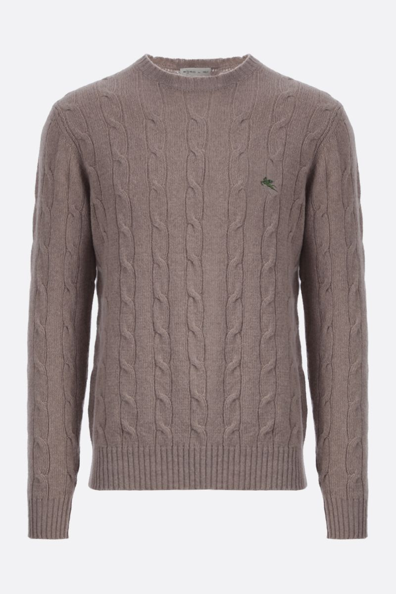 ETRO: Pegaso embroidered cable-knit wool pullover Color Neutral_1