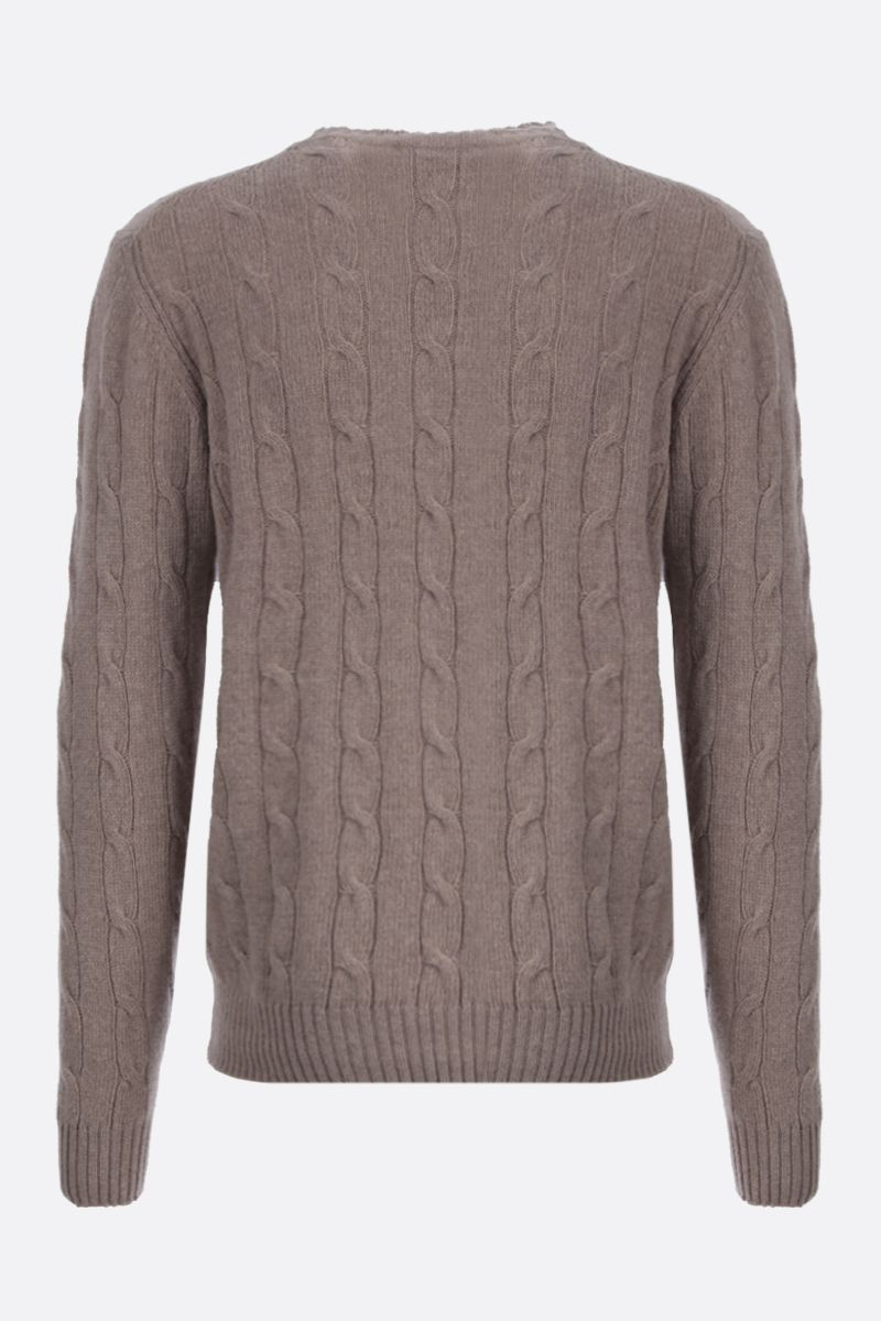 ETRO: Pegaso embroidered cable-knit wool pullover Color Neutral_2