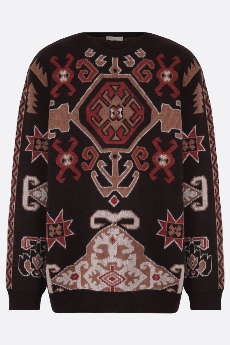 ETRO: pullover in misto lana a motivo tapestry Colore Marrone_1