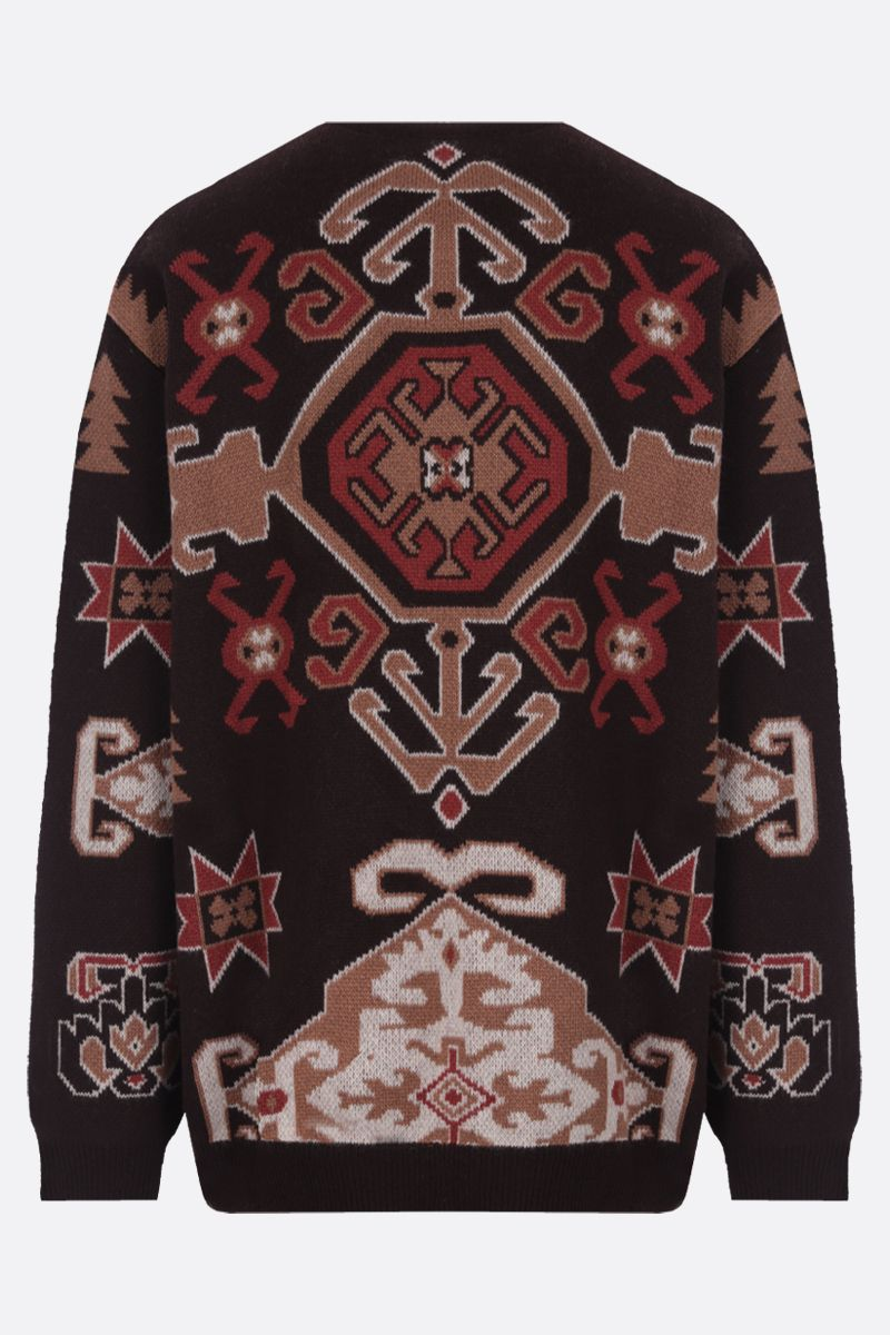 ETRO: pullover in misto lana a motivo tapestry Colore Marrone_2