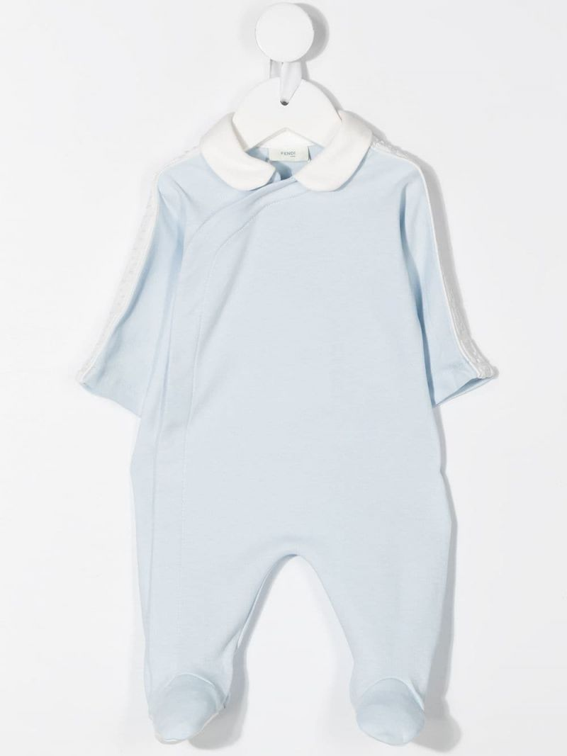 FENDI KIDS: cotton playsuit, beanie and bib set Color Blue_2