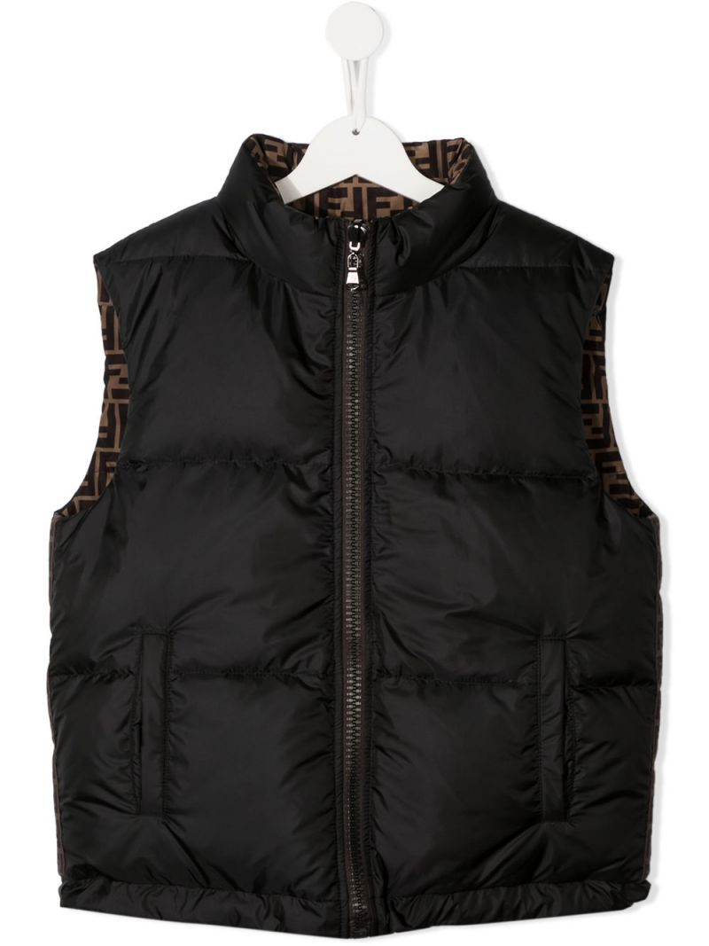 FENDI KIDS: reversible nylon sleeveless down jacket Color Black_1
