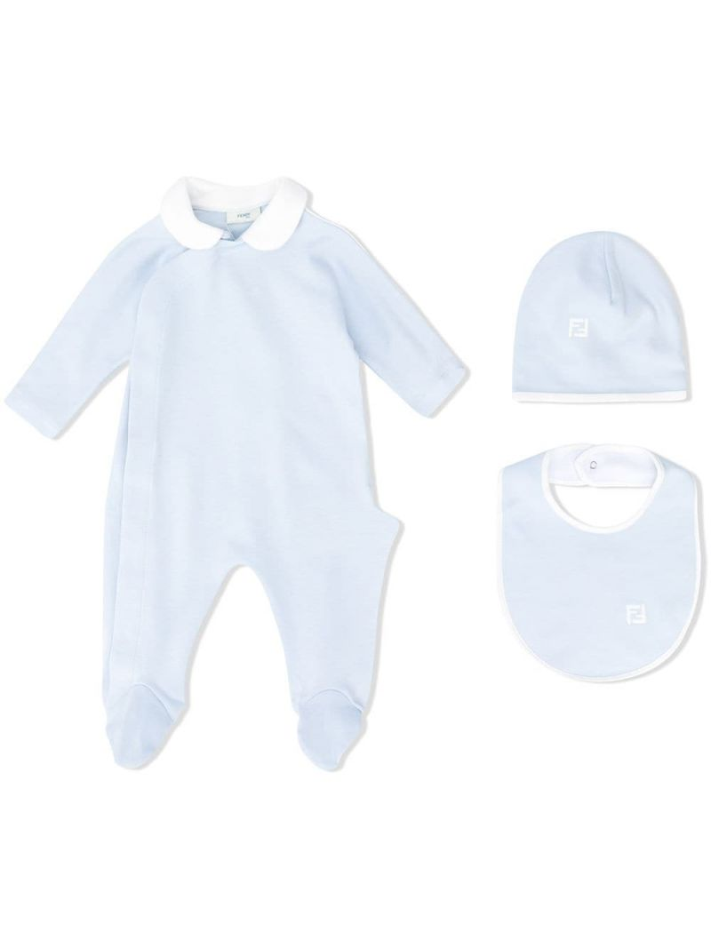 FENDI KIDS: cotton playsuit, beanie and bib set Color Blue_1