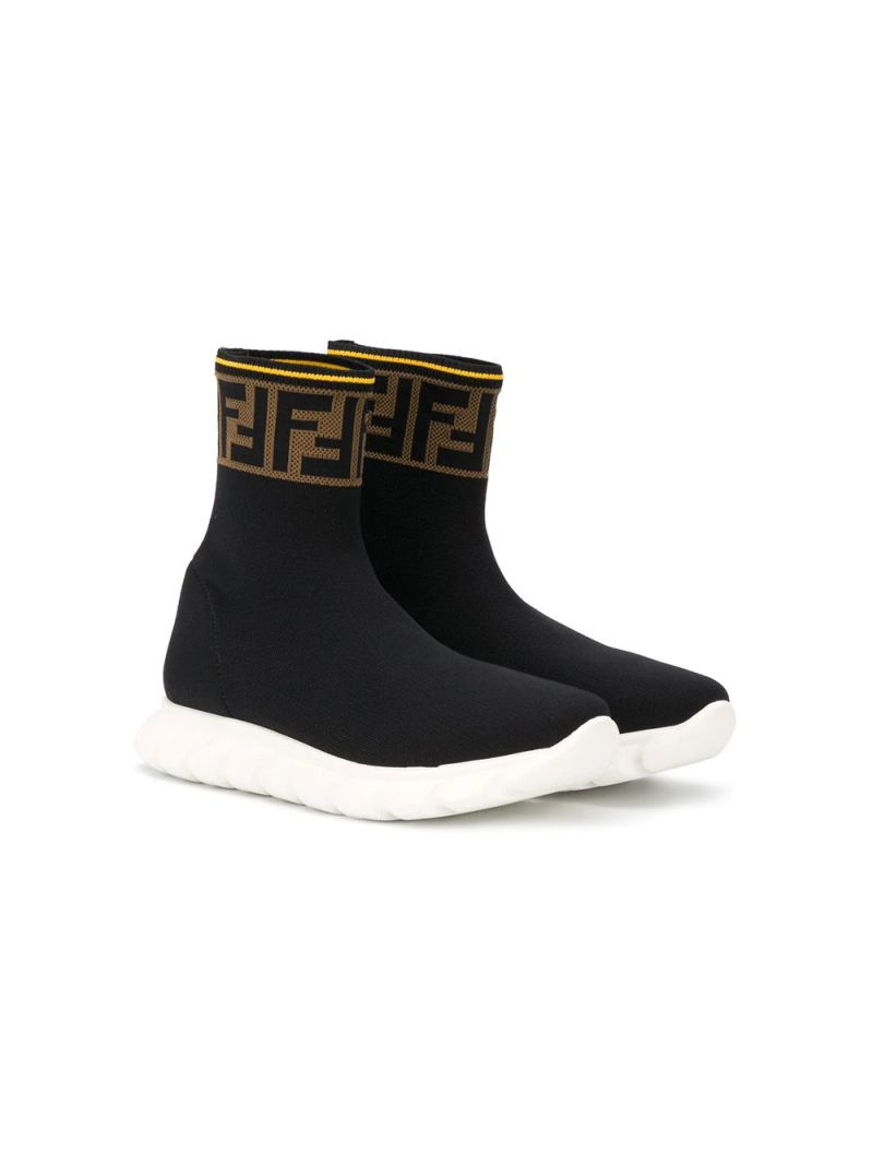 FENDI KIDS: FF-detailed stretch knit sneakers Color Black_1