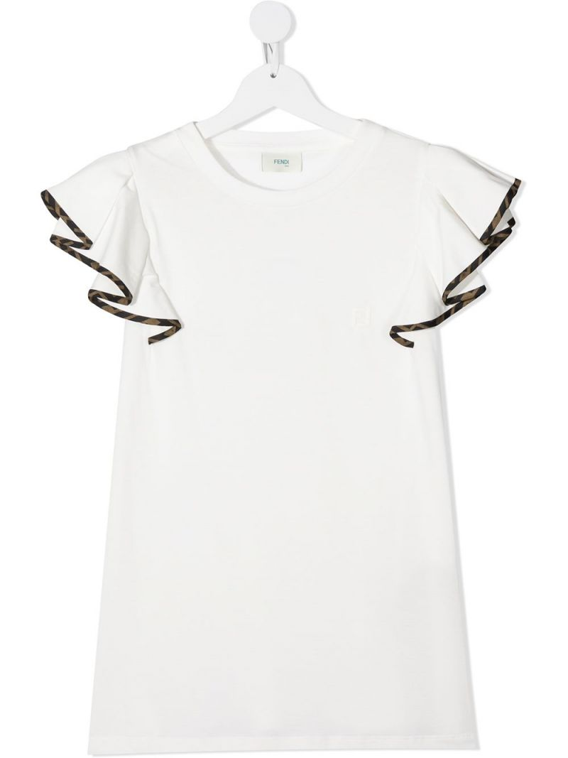 FENDI KIDS: FF trimmed cotton t-shirt Color Neutral_1