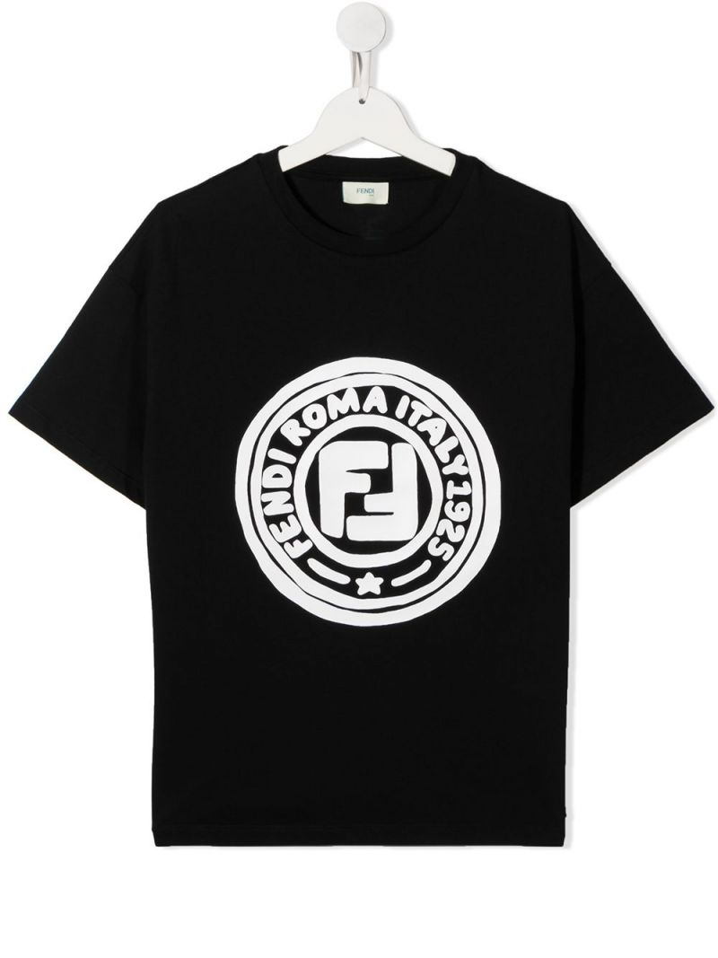 FENDI KIDS: FF print cotton t-shirt Color Black_1