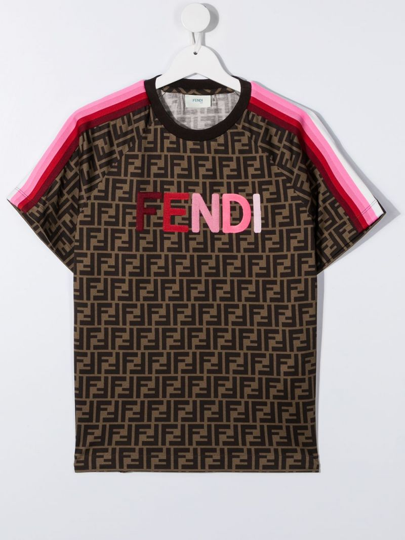 FENDI KIDS: Fendi embroidered FF cotton t-shirt Color Orange_1
