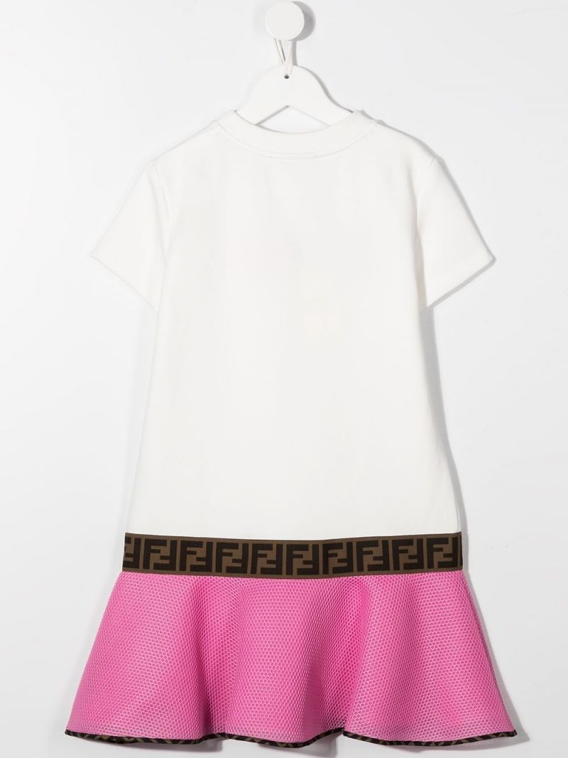 FENDI KIDS: logo embroidered cotton and mesh dress Color Neutral_2