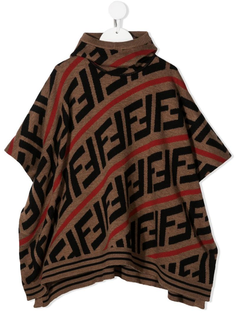 FENDI KIDS: FF wool blend poncho Color Red_1