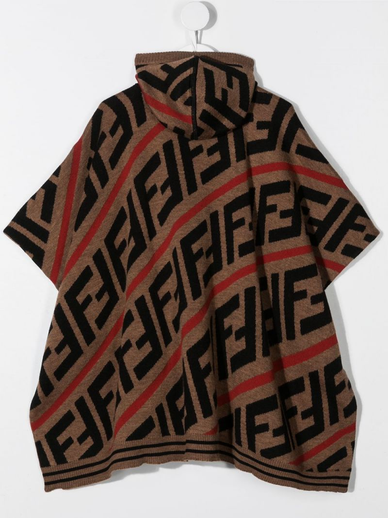 FENDI KIDS: FF wool blend poncho Color Red_2