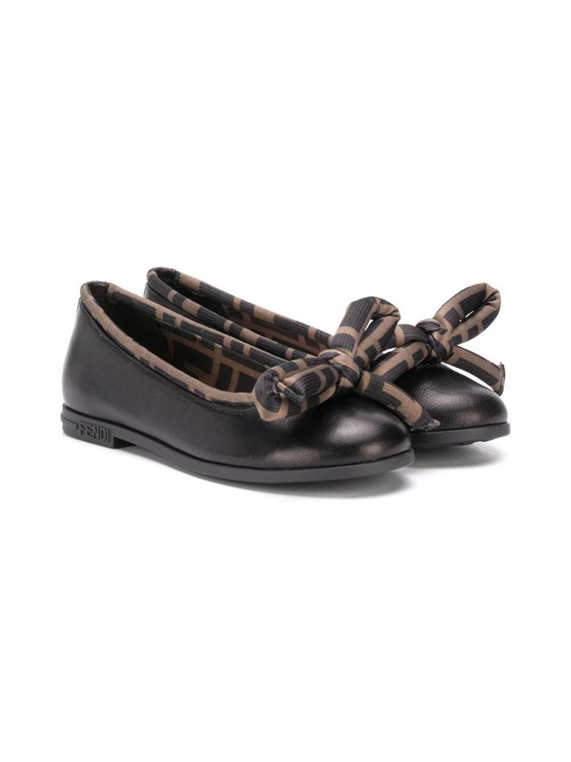 FENDI KIDS: FF trimmed smooth leather ballerinas_1