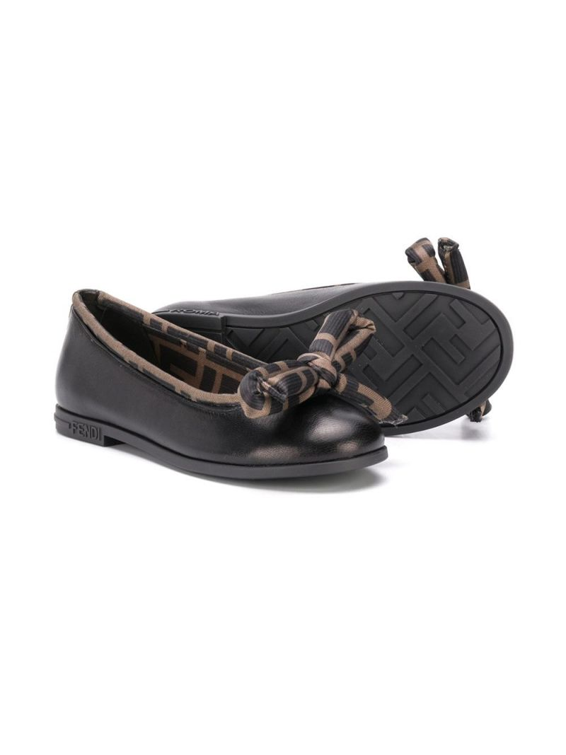 FENDI KIDS: FF trimmed smooth leather ballerinas_2