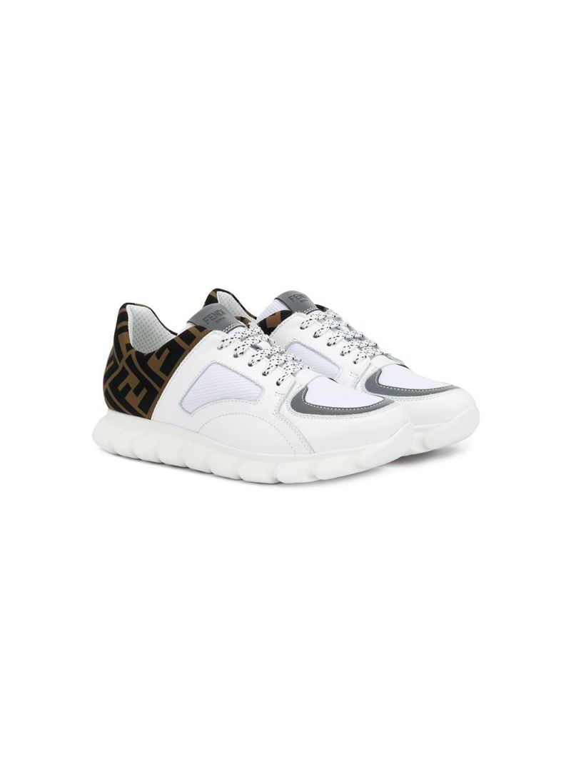 FENDI KIDS: FF neoprene and smooth leather sneakers_1