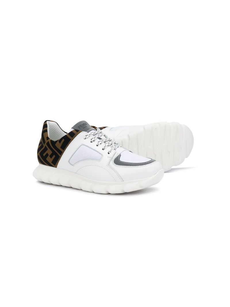 FENDI KIDS: FF neoprene and smooth leather sneakers_2