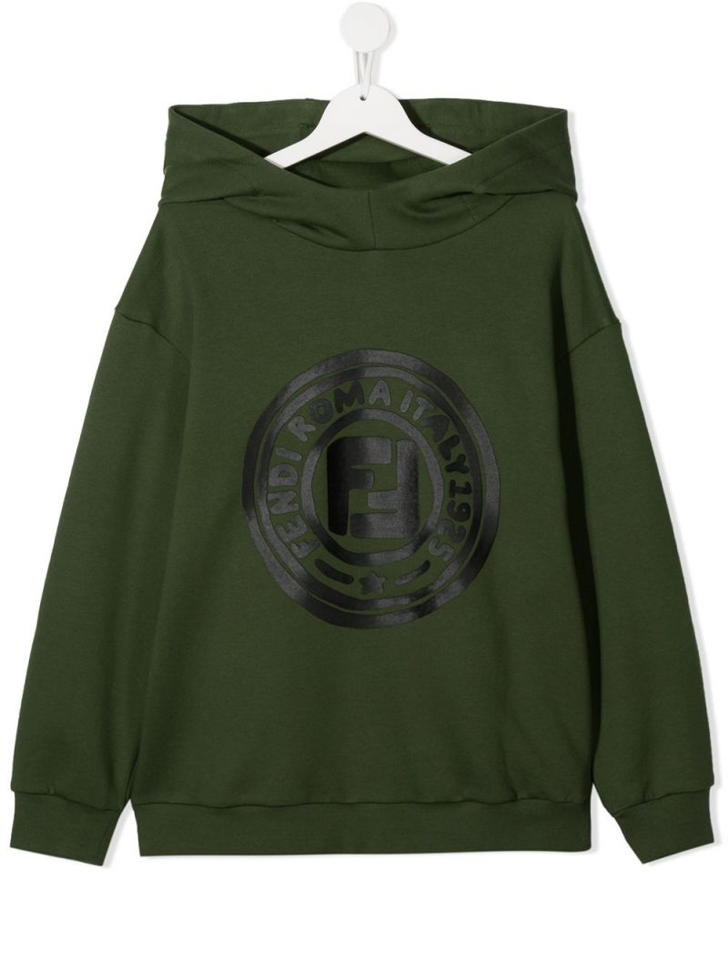 FENDI KIDS: FF print cotton hoodie Color Green_1