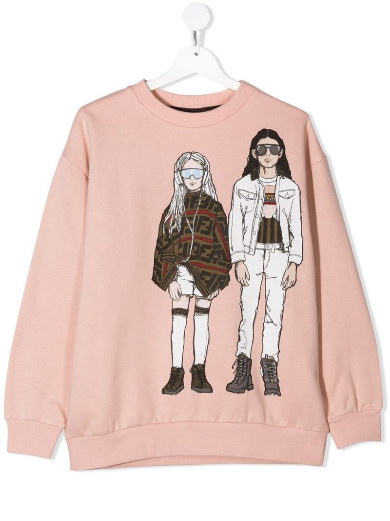 FENDI KIDS: graphic print cotton sweatshirt_1