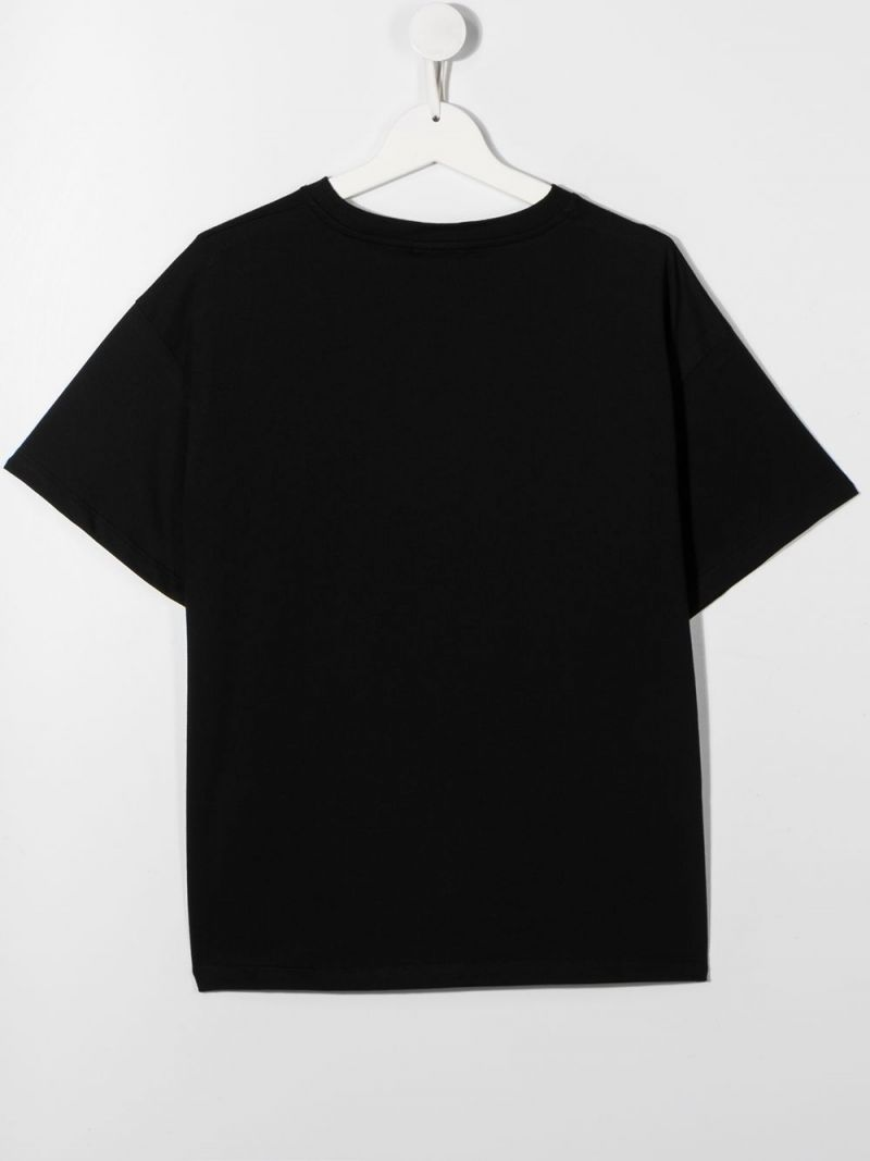 FENDI KIDS: FF print cotton t-shirt Color Black_2