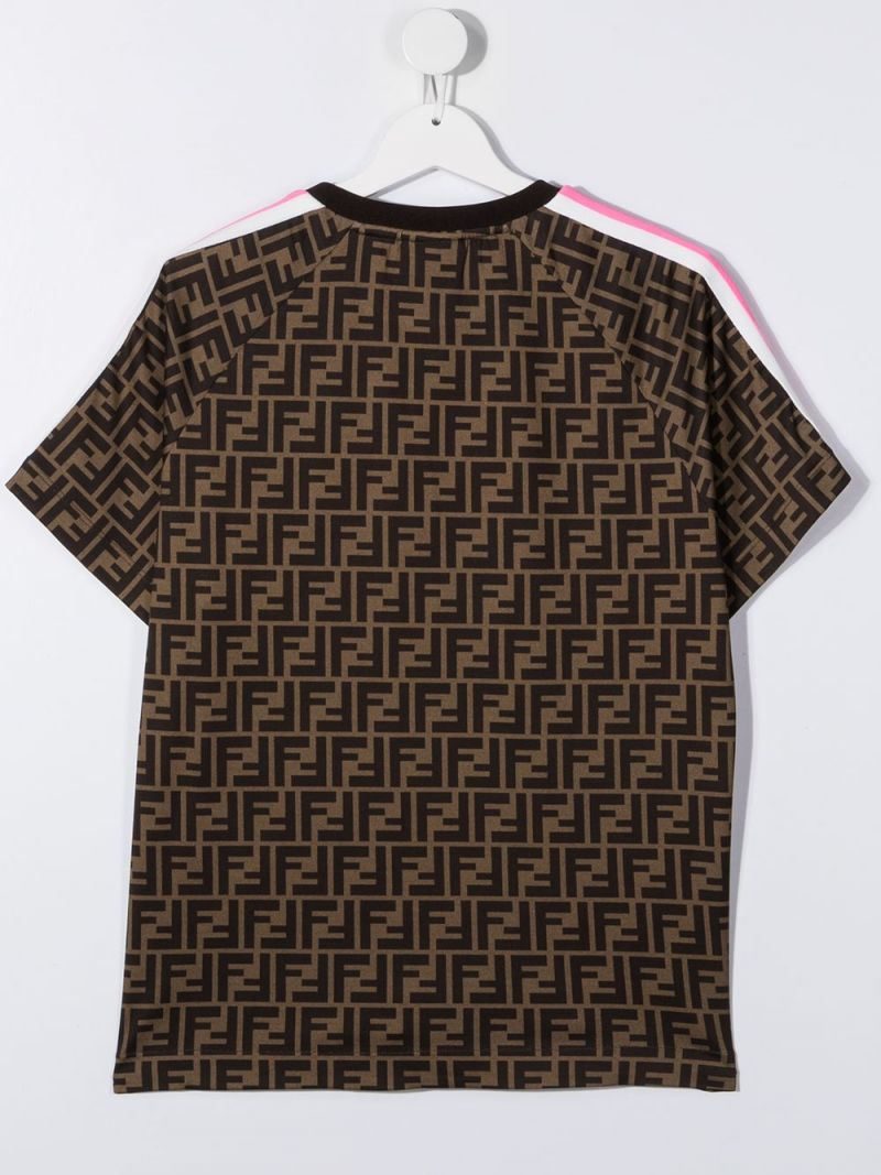 FENDI KIDS: Fendi embroidered FF cotton t-shirt_2