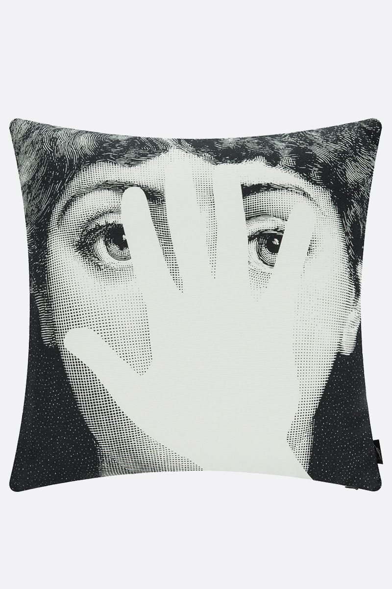 FORNASETTI: Mano canvas cushion Color White
