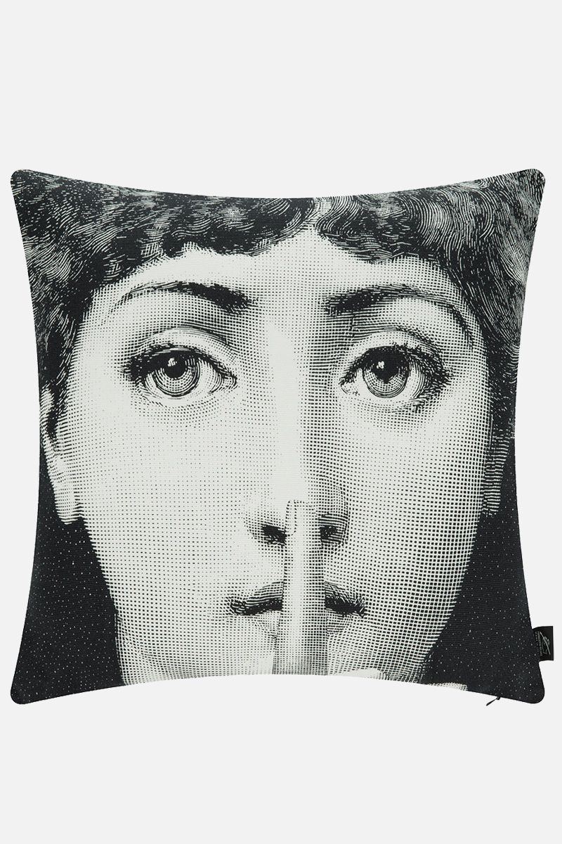 FORNASETTI: Silenzio canvas cushion Color White